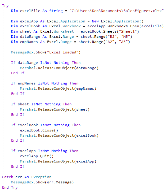 Connect to Excel with VB and C#