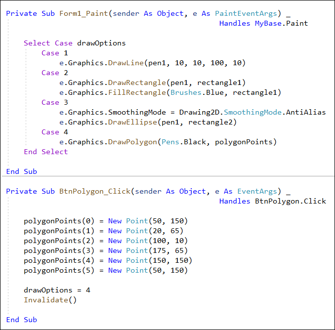 Draw a Polygon with Code in VB and C#