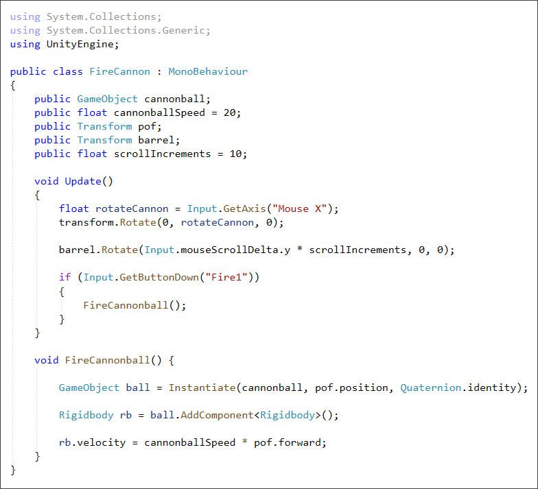 Unity C# script to fire a cannonball from a cannon