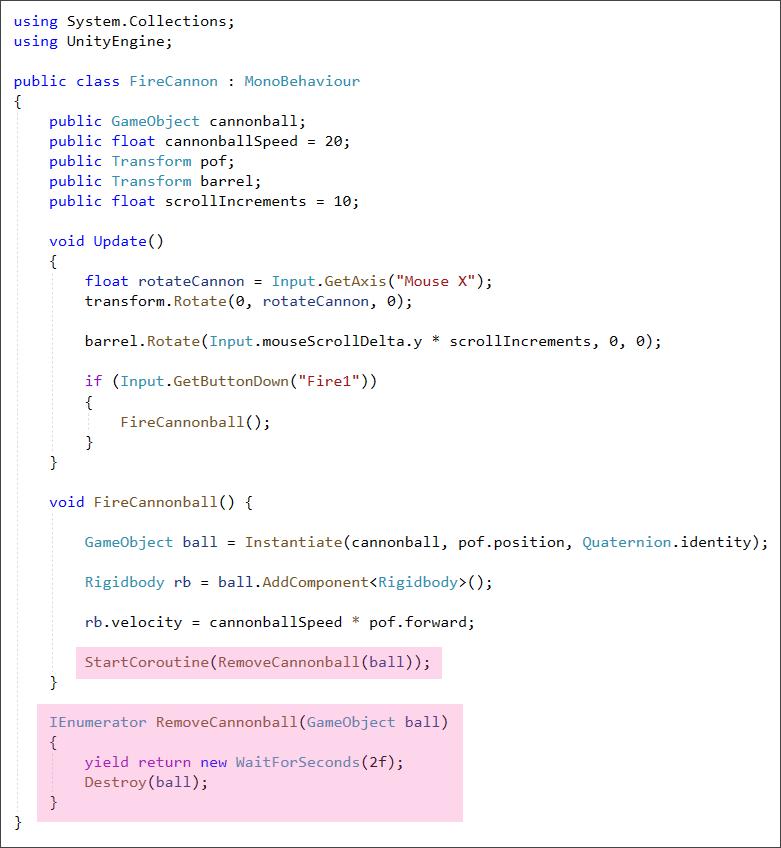 Unity C# script to remove a cannonball