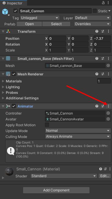 The Unity Inspector showing the Animator component