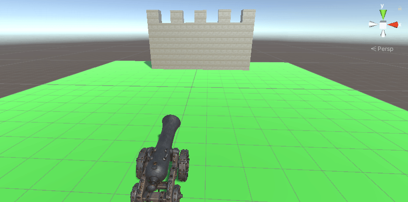 Cannon in a Unity scene aimed at a wall