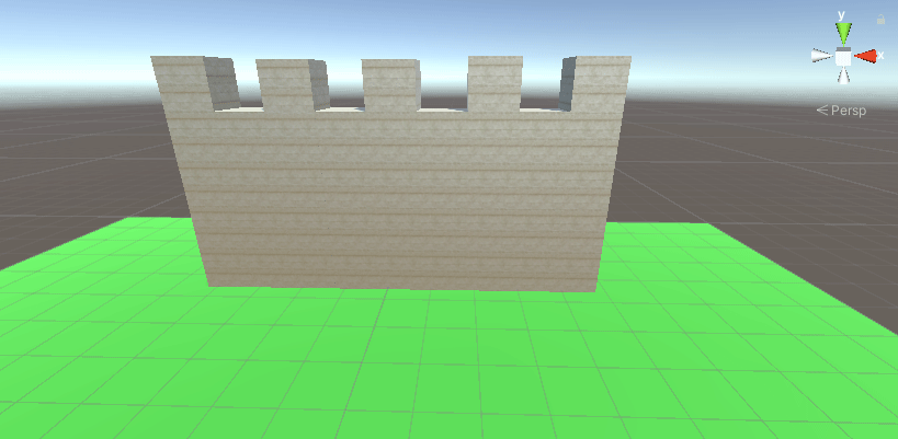 Castle wall in Unity sitting on a green plane