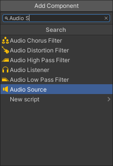 The Add Component list showing the Audio Source item highlighted