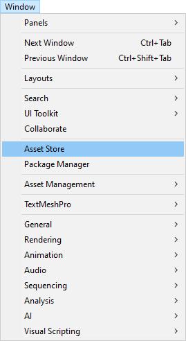 Unity Asset Store menu