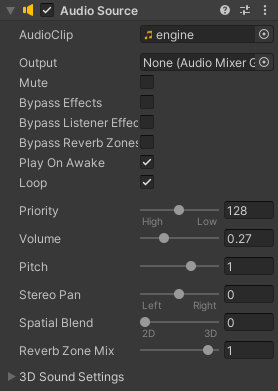 The Audio Source options showing in the Inspector