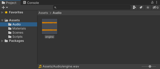 The Project folder in Unity showing an audio file