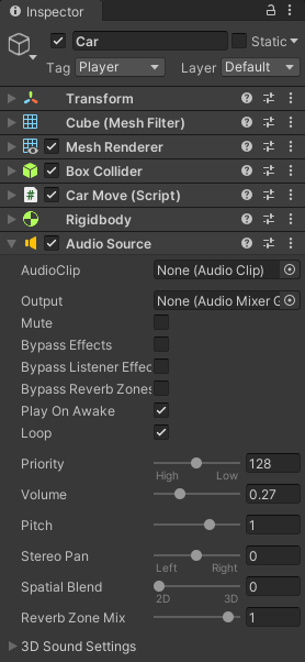 An Audio Component attached to a game object