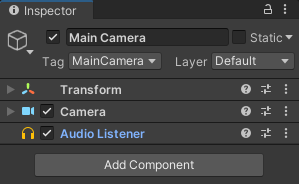 Main Camera showing a Audio Listener attached