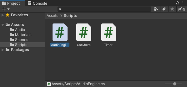 Three C# scripts in a folder in the Project area of Unity
