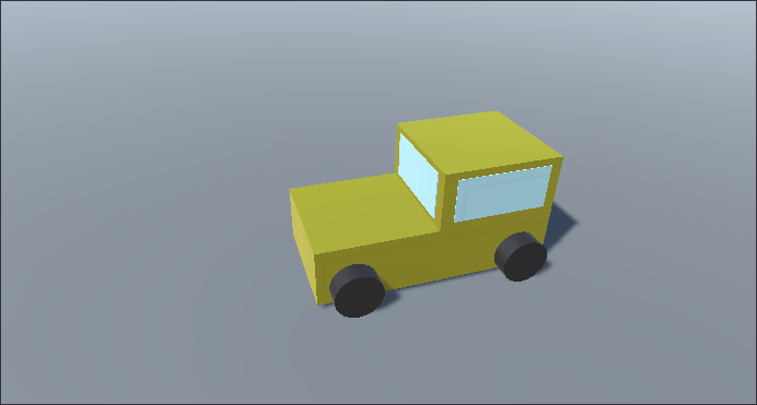 A boxcar built with 3D objects in Unity