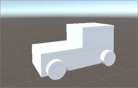 A basic boxcar using cubes and cylinders