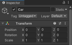 A game object renamed through the Inspector