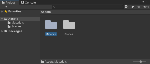 A Materials folder created in the Projects area of Unity