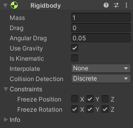 A Rigidbody component added to a game object