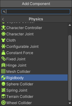 The Add Component menu showing the Rigidbody item highlighted