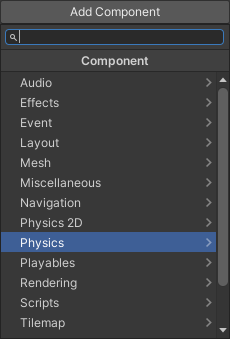 The Add Component menu showing the Physics item highlighted