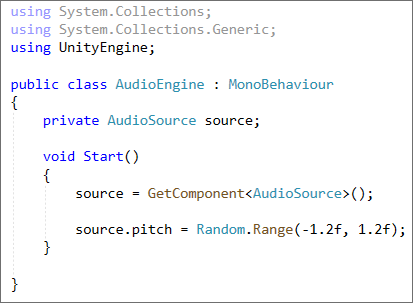 C# code in Unity to set the Pitch of a sound