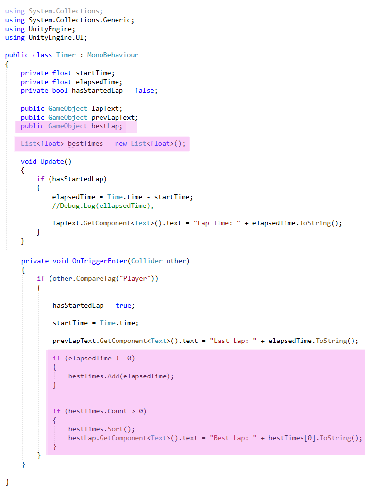 Unity C# code to record a best lap
