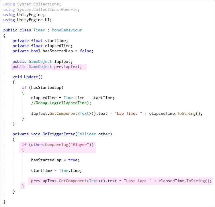Unity C# code to add previous lap text