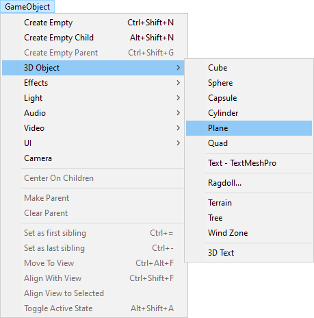 Unity menu showing the Plane item selected