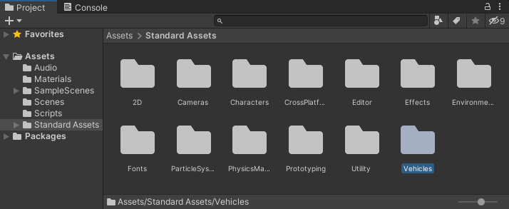 The Standard Assets folder in Unity with the Vehicles item selected