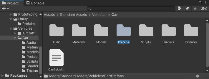 The Standard Assets folder in Unity with the Prefabs item selected