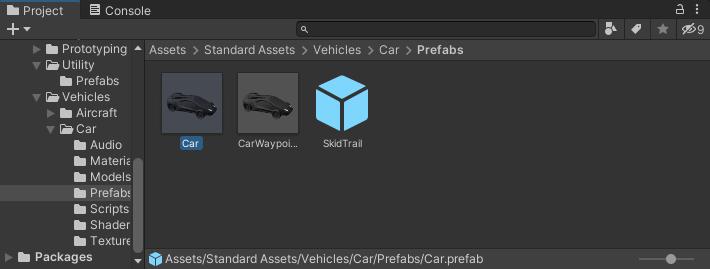 A car prefab selected