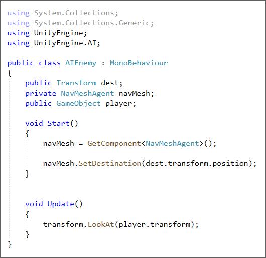 Unity C# code to set a destination for a Nav Mesh