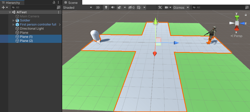 A scene in Unity selecting areas for the AI