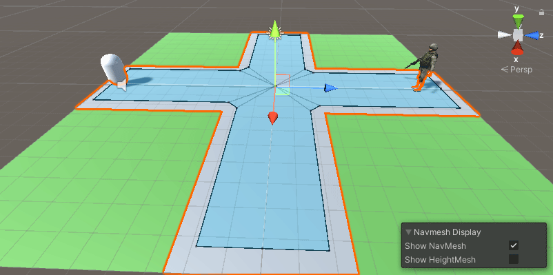 Unity Scene view showing baked areas of a NavMesh