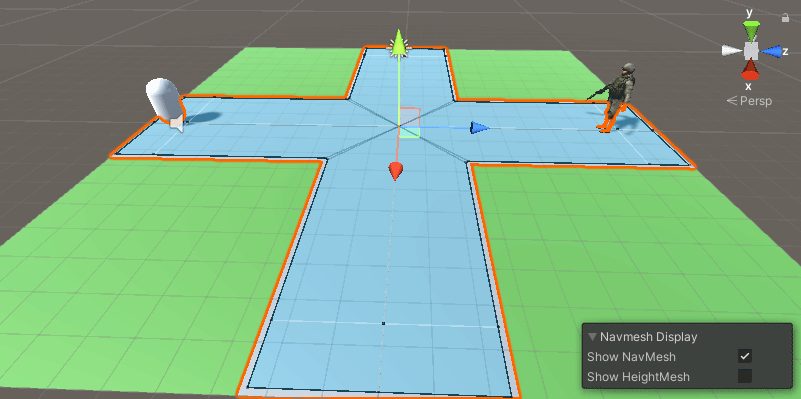The NavMesh area enlarged and baked