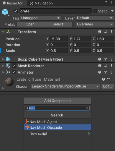 The Nav Mesh Obstacle component in Unity