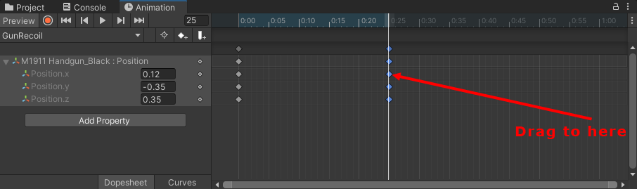 Setting the animation end to 25 frames per second