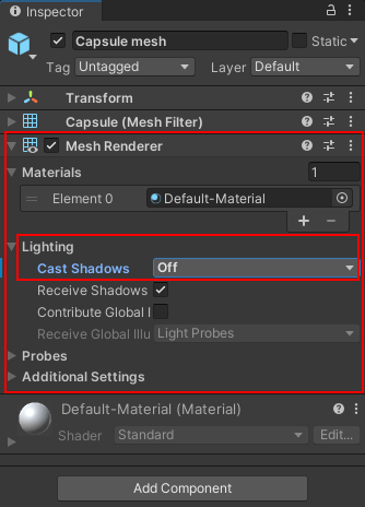 The Mesh Renderer and Cast Shadows items highlighted int the Inspector