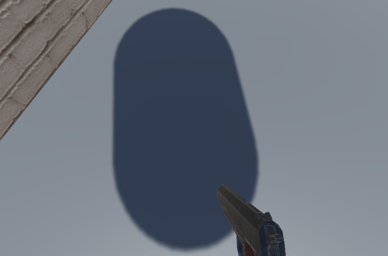 A shadow cast by a capsule in Unity