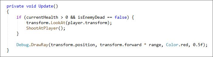 Unity C# code for the DrawRay method