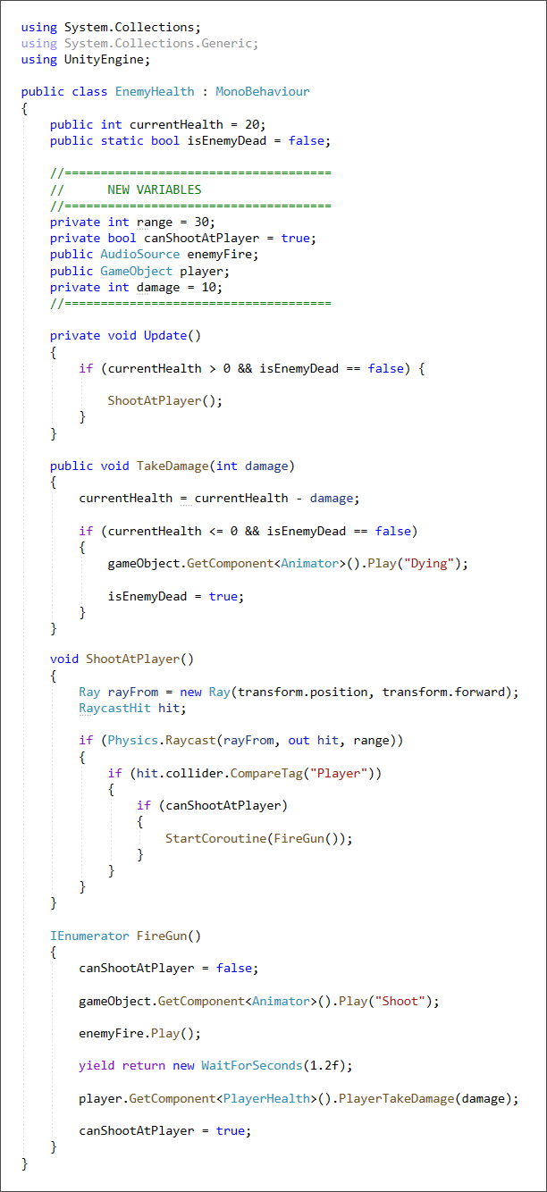 Unity C# code to set up a raycast for the enmy soldier