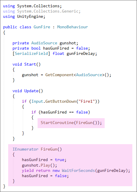 Unity C# code showing how to fire a gun