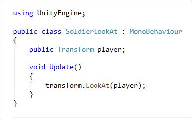 Unity C# code for the LookAt method