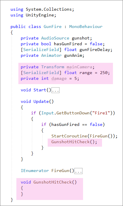 Unity C# code with some variables and a method set up
