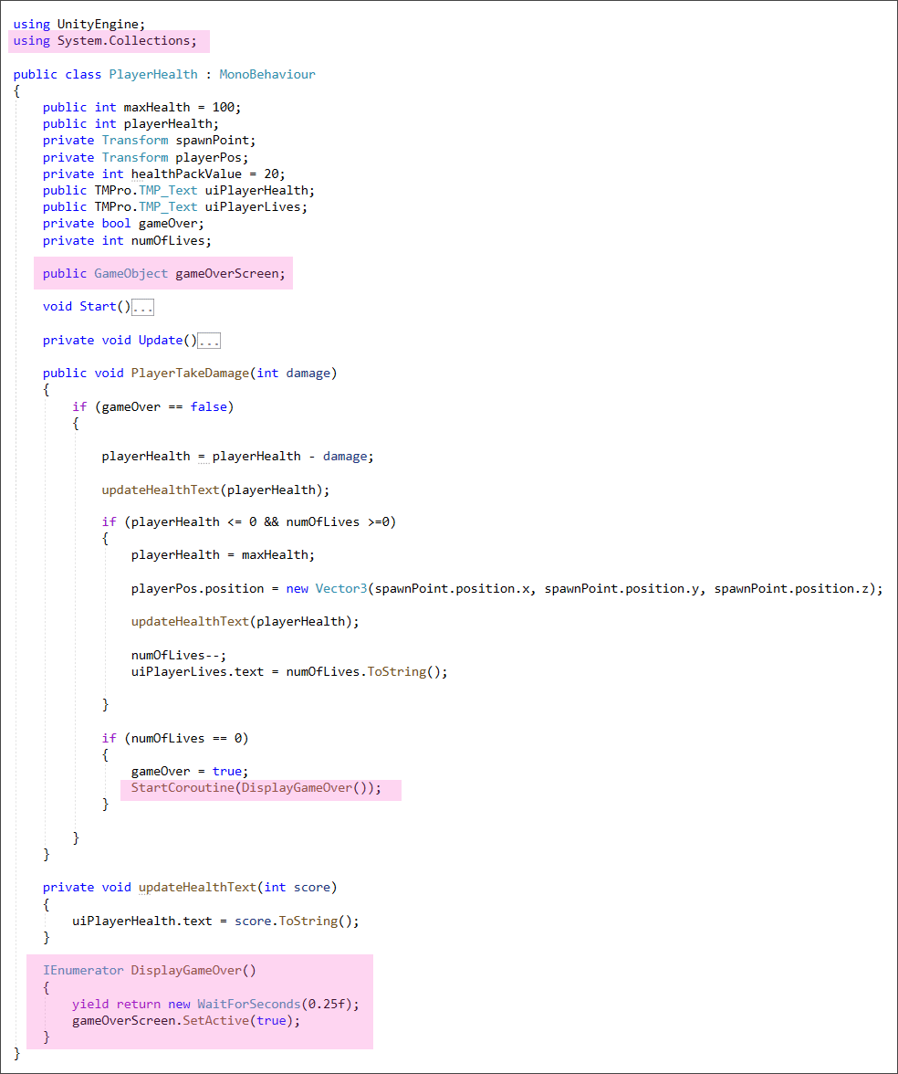Unity C# code for a game over screen