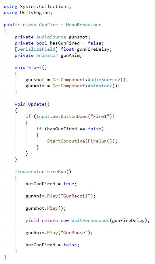 Unity C# code player fire gun