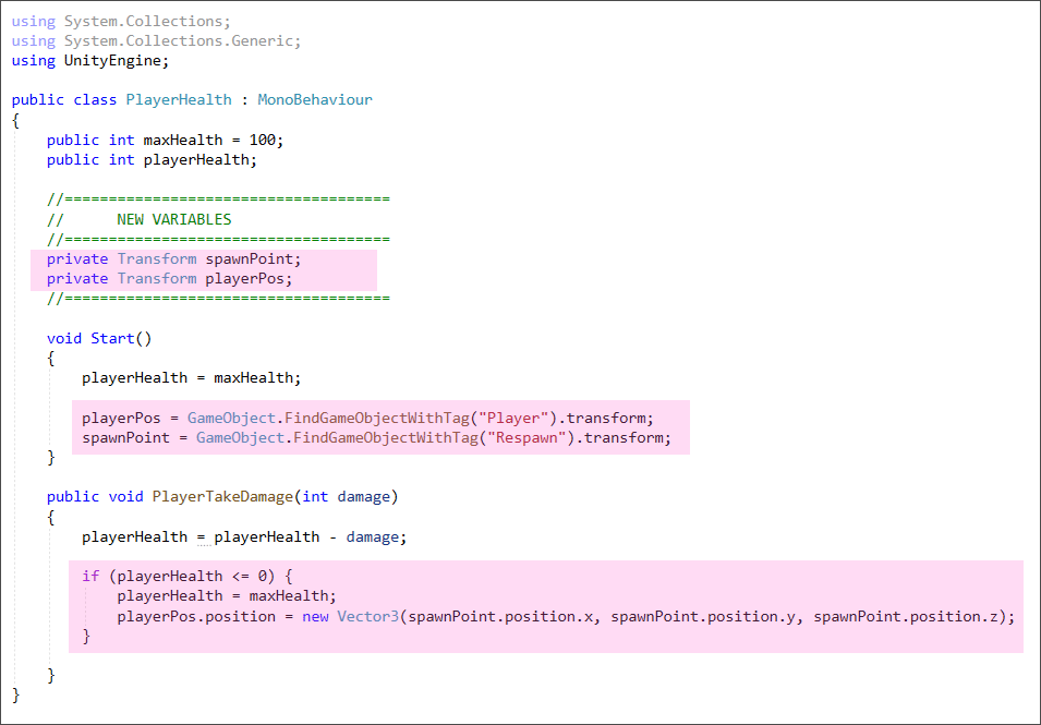 Unity C# code for a respawn point