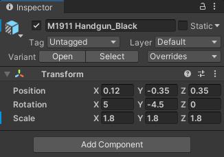 Transform values for the handgun