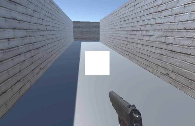 Game view showing an oversized gun sight