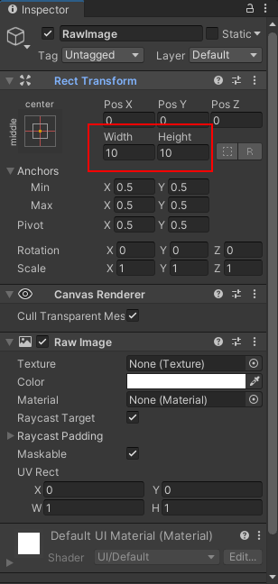 Changing the height and width of a raw image via the Inspector