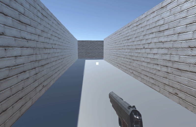 Game view showing a white raw image used as a gunsight