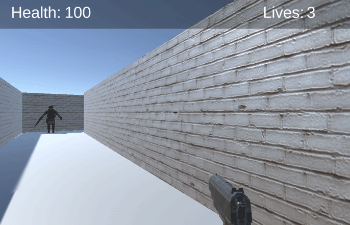Unity Game view showing health and player lives scores