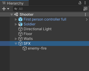 A sound effect set up in the Hierarchy